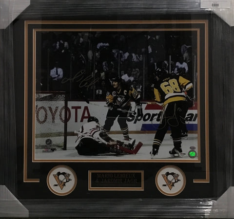 Mario Lemieux and Jaromir Jagr Dual-signed On The Ice 16x20 Framed