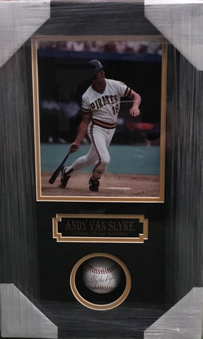 Andy Van Slyke Signed Baseball with 8x10 Photo Shadowbox (Vertical)