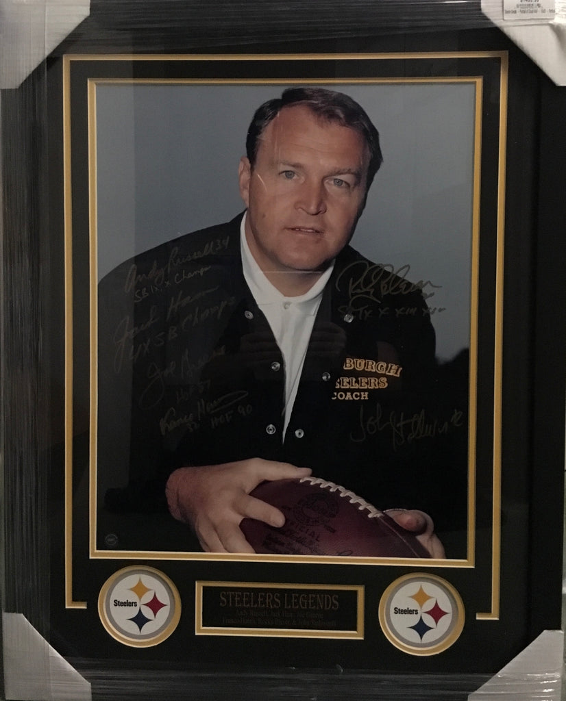 Chuck Noll 16x20 Photo Signed by Russell, Stallworth, Ham, Greene, Harris, Bleier - Professionally Framed