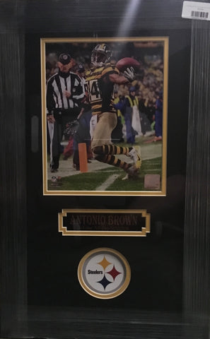 7eb34100033 Antonio Brown Bumble Bee Jers. Unsigned 8x10 - Professionally Framed
