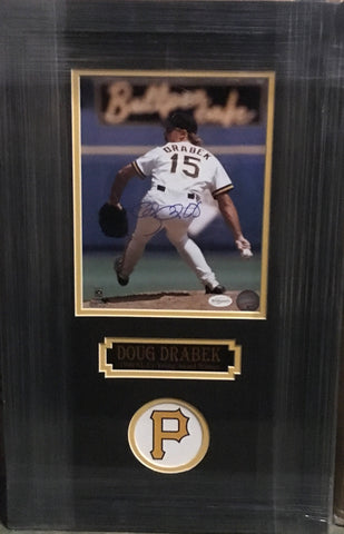 Doug Drabek Back View in White Jersey Pitching 8x10 Signed - Professionally Framed