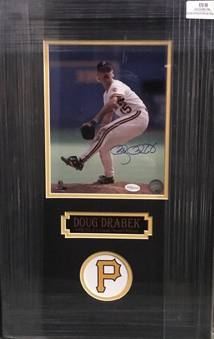Doug Drabek Front View with White Jersey Pitching 8x10 Signed - Professionally Framed