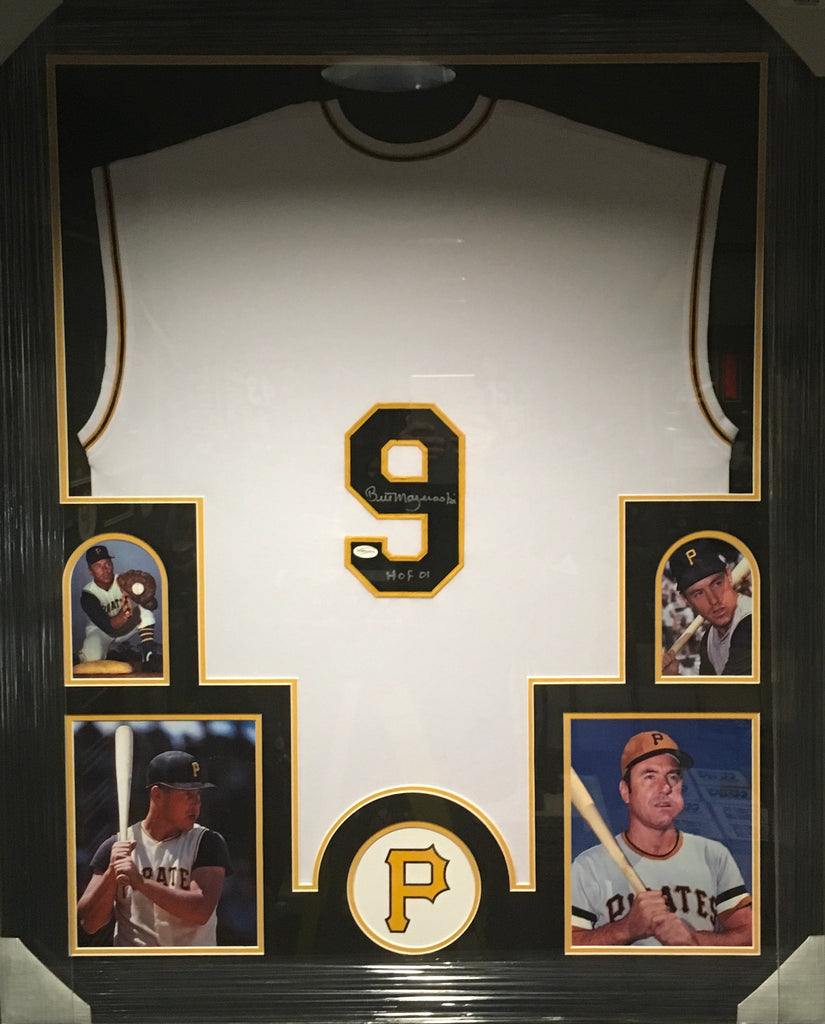 Bill Mazeroski White Vest Jersey with HOF 01 inscription Professionally Framed - 4 pictures