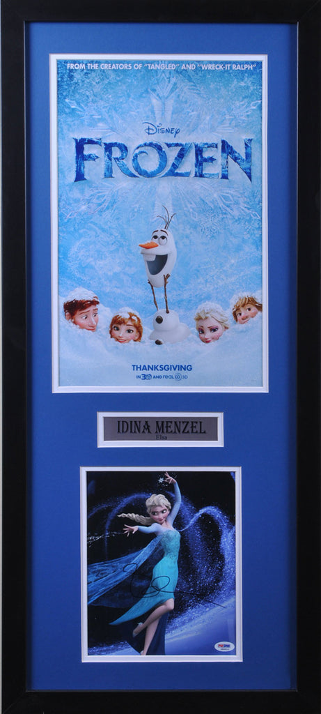 Idina Menzel (Elsa) Signed 8x10 shooting snow with Frozen 11x17 Poster