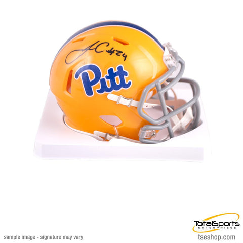 James Conner Autographed PITT Throwback Mini Helmet