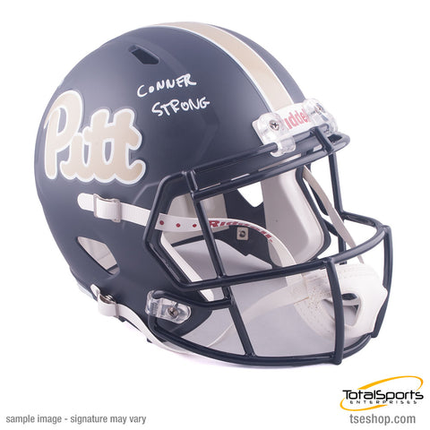 James Conner Autographed Pitt Panthers Full Sized Dark Blue/Gold Riddell Helmet with