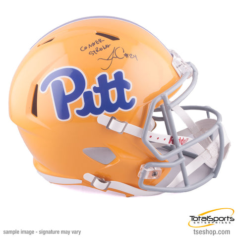 James Conner Autographed Pitt Panthers Full Sized Bright Yellow SPEED Helmet with