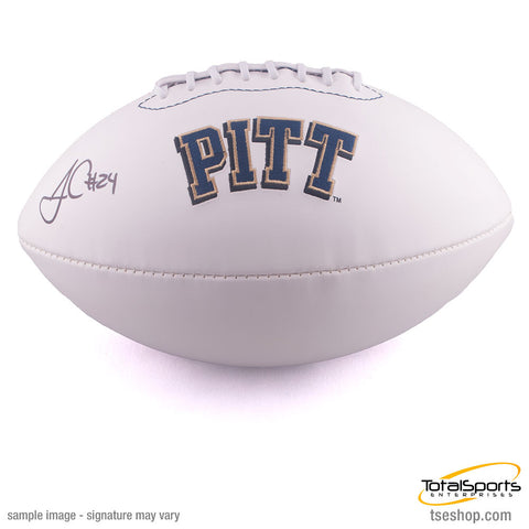 James Conner Autographed Pitt Panthers White Logo Football