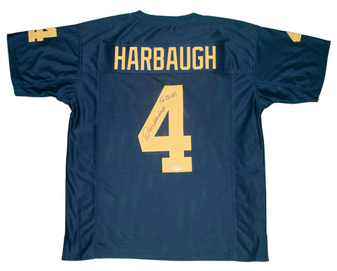 Jim Harbaugh Autographed Michigan Custom Blue Jersey with