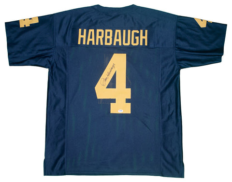 Jim Harbaugh Autographed Michigan Custom Blue Jersey