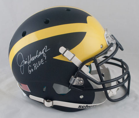 Jim Harbaugh Autographed Authentic Schutt Michigan Wolverines Helmet with