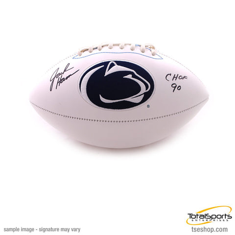 Jack Ham Autographed White Penn State Logo Football with CHOF 90