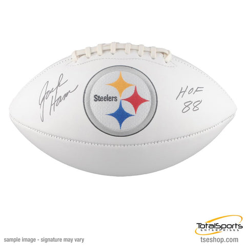 Jack Ham Autographed White Steelers Logo Football with HOF 88