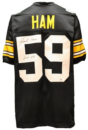 Jack Ham Autographed Black Custom Jersey inscribed 'HOF 88'