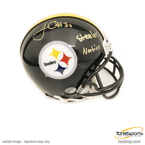 James Conner Autographed Pittsburgh Steelers Black Mini Helmet with