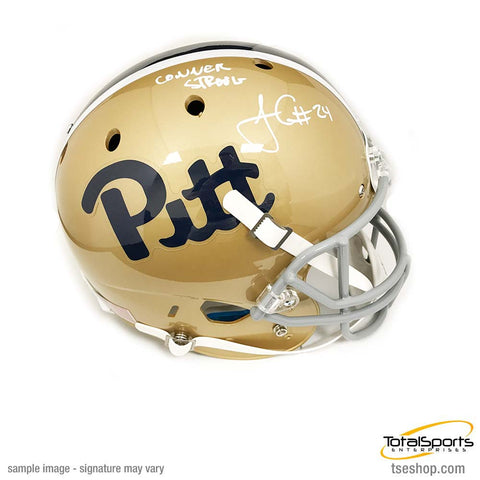 James Conner Autographed Pitt Panthers Full Sized Dark Gold Helmet with