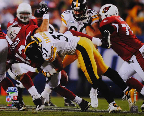 James Farrior Tackling Warren in SB 8x10 Photo - Unsigned