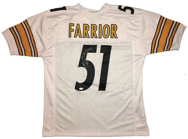 James Farrior Autographed Steelers Custom Authentic-Style White Jersey with 2X SB Champ