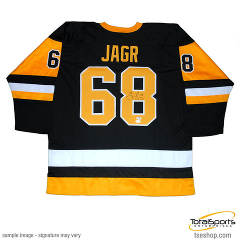 Jaromir Jagr Autographed Black and Gold Home Custom Jersey