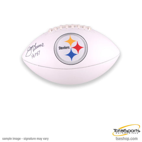 Joe Greene Autographed White Logo Football with HOF '87