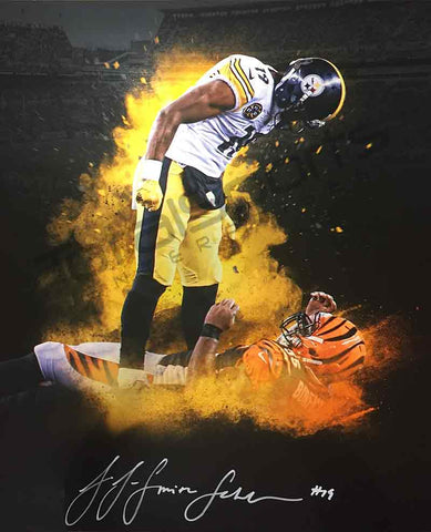 JuJu Smith-Schuster Signed Custom Over Burfict Explosion 20x24 Photo