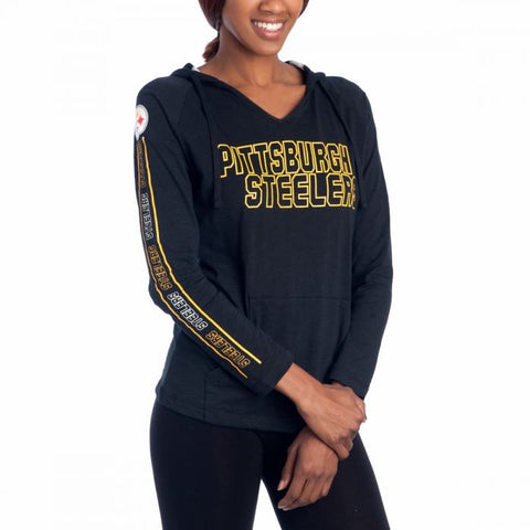 Ladies' Steelers Knit Slide Hooded Top