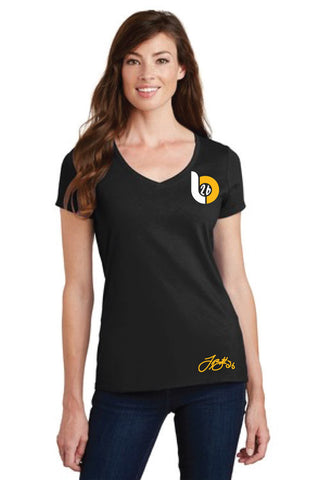 Le'Veon Bell 'LB26' Logo Ladies V-Neck Black Tee