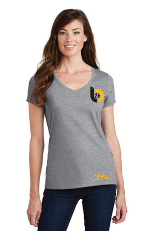 Le'Veon Bell 'LB26' Logo Ladies V-Neck Heather Gray Tee