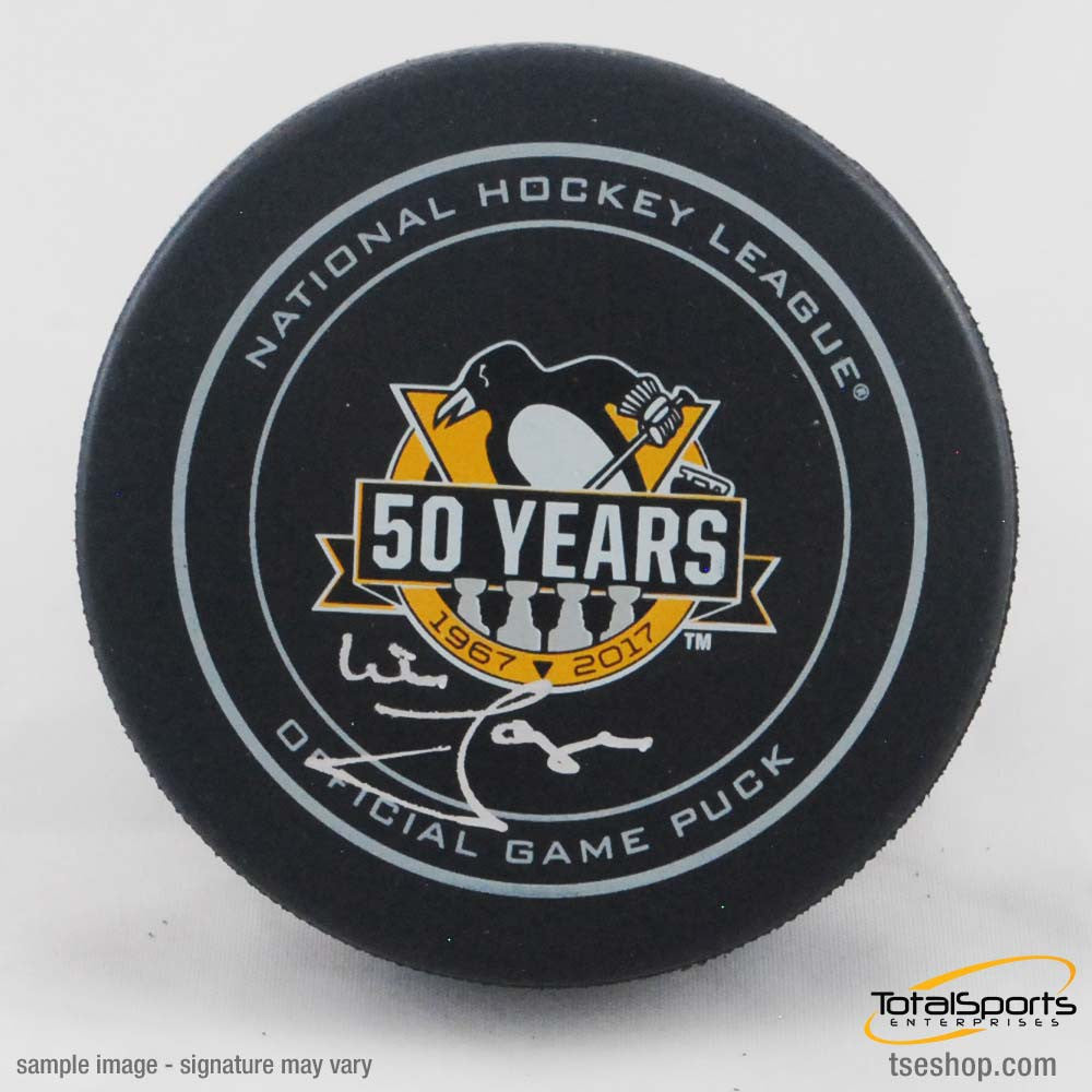 Mike Lange Autographed 50 Year Ann Game Model Puck