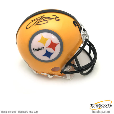 Le'Veon Bell Autographed Pittsburgh Steelers Yellow 75th Anniversary Mini Helmet