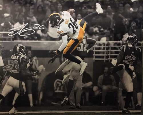 LeVeon Bell Autographed Rams Leap 16x20
