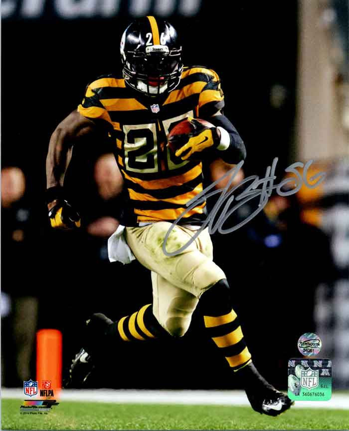 LeVeon Bell Running in Bumblebee Signed 8x10