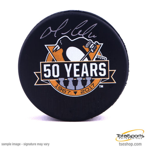 Mario Lemieux Signed Penguins 50 Year Anniversary Logo Puck