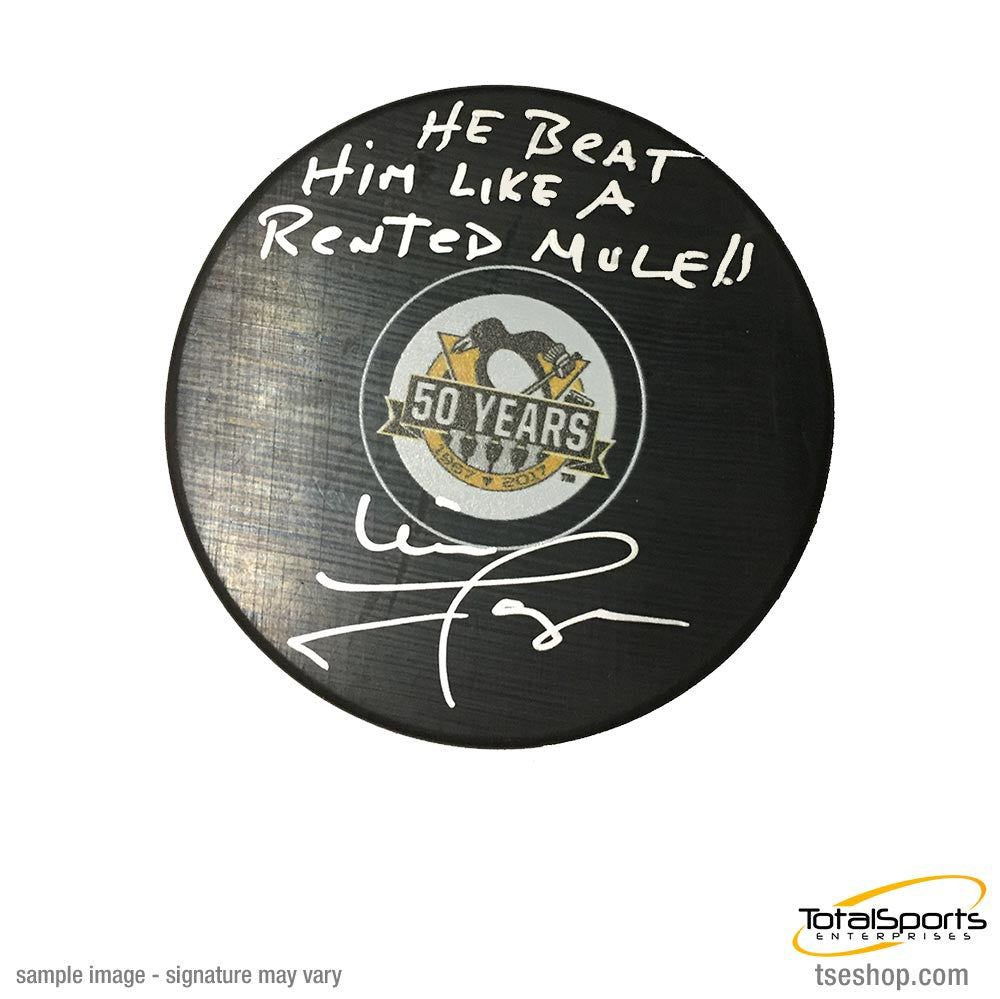 Mike Lange Autographed Pens 50th Ann. Logo Puck with He Beat Him Like a Rented Mule