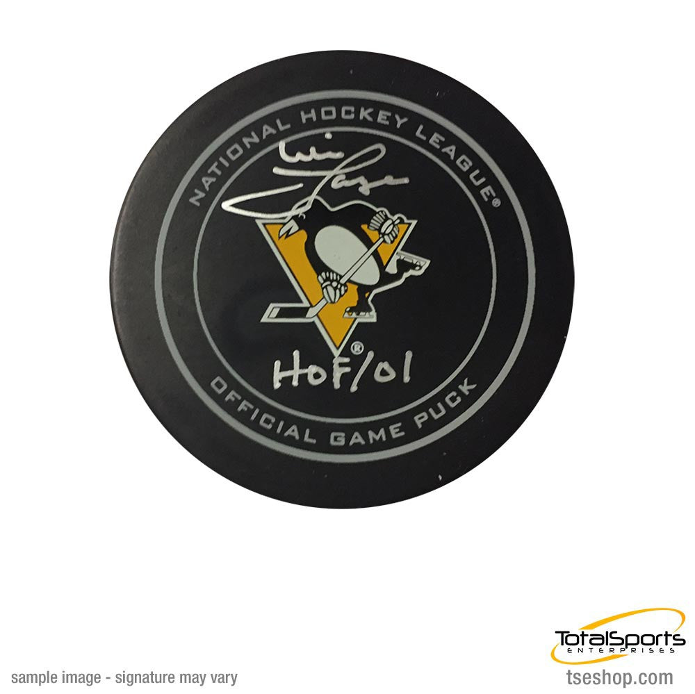 Mike Lange Autographed Pittsburgh Penguins Game Model Puck with HOF 01