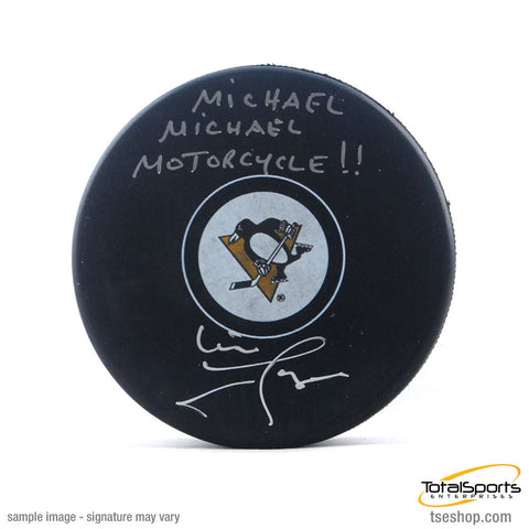 Mike Lange Autographed Pens Logo Puck with
