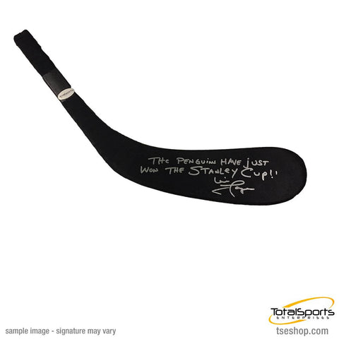 Mike Lange Autographed Stick Blade with The Penguins Have Just Won the Stanley Cup