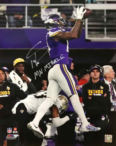 Stefon Diggs Autographed MN Miracle Catch Over Saints 16x20 Photo with