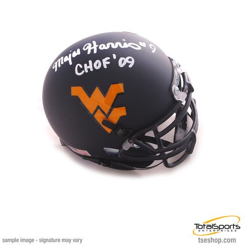 Major Harris Signed WVU Blue Schutt Matte Mini Helmet with CHOF 09