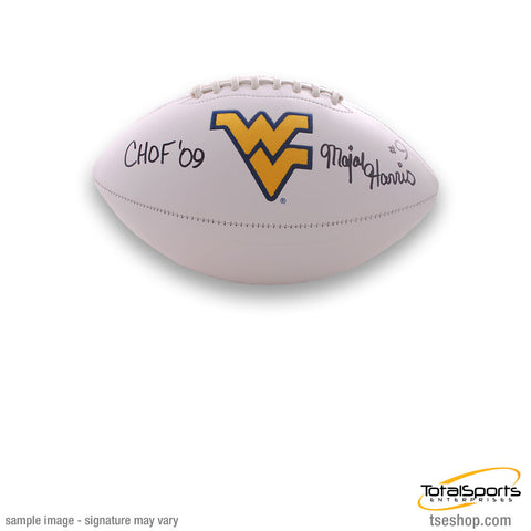 Major Harris Signed WVU White Logo Football with CHOF 09