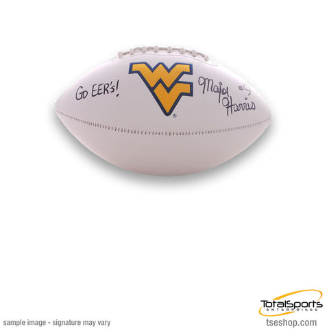 Major Harris Signed WVU White Logo Football with Go EER's
