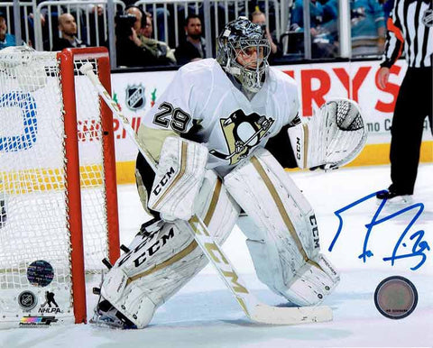 Marc-Andre Fleury In The Crease In White Jersey 16x20 Photo - Signed