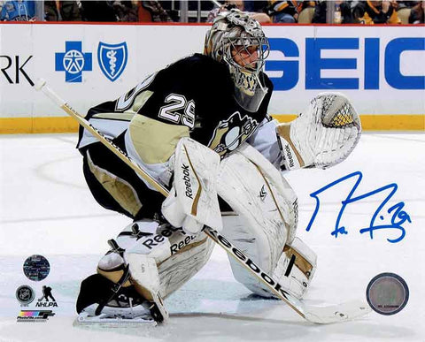 Marc-Andre Fleury Outside The Crease In Black Jersey 16x20 Photo - Signed