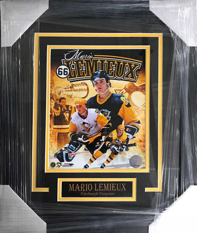 Mario Lemieux UNSIGNED Professionally Framed Collage 8x10 Photo