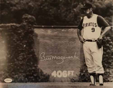 Bill Mazeroski Autographed Standing In Outfield 16x20 Photo