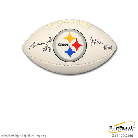Mike Hilton Signed Pittsburgh Steelers White Logo Football with