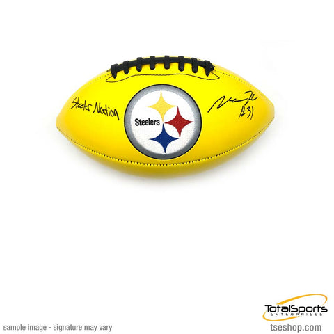 Mike Hilton Signed Pittsburgh Steelers Yellow Logo Football with