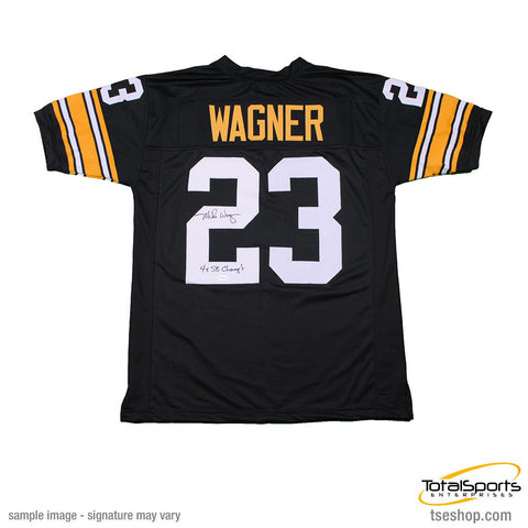 Mike Wagner Autographed Custom Black Football Jersey with 4X SB Champs