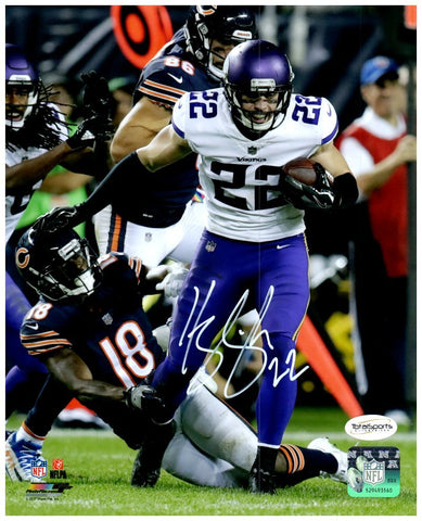 Harrison Smith Autographed Running with Ball in White Vs Bears 8x10 Photo