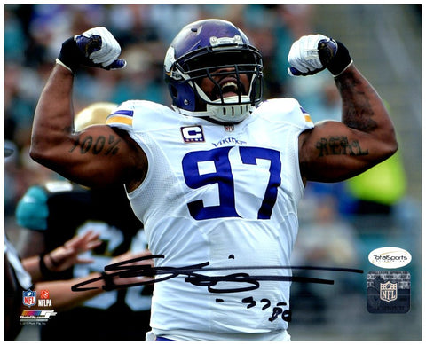 Everson Griffen Autographed Flexing in White 16x20 Photo
